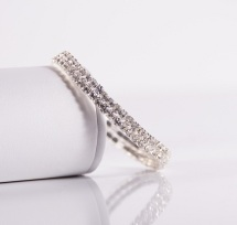Fancy elastic double row collar w. rainstones