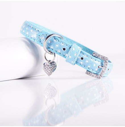 BLUE AND WHITE DOTTED COLLAR WITH CHARM
