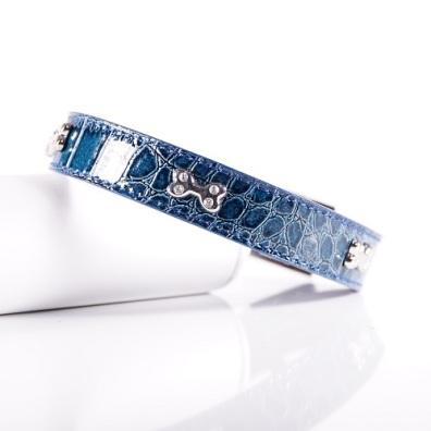 Blue Collar w Bone and Rhinestones