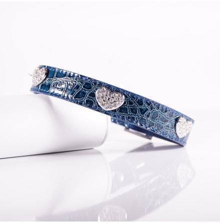 Blue Collar w Heart and Rhinestones