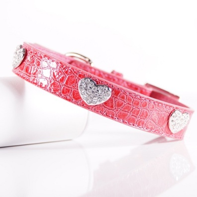 Pink Collar w Heart and Rhinestones