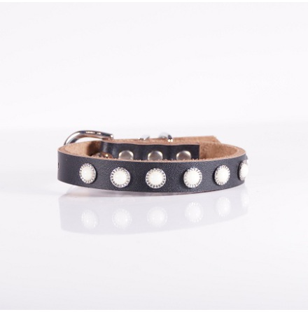 PEARL COLLAR BLACK SEMI LEATHER