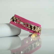 PINK LEOPARD COLLAR W BOW