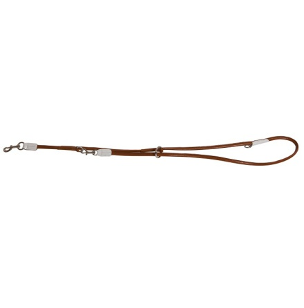 Leash round in White and Brown High Quality Leather
