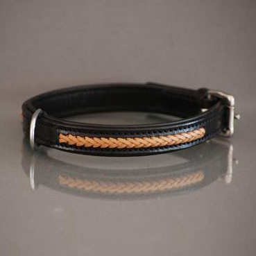 Black / Tan braided leather collar
