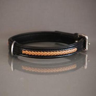 Black / Tan braided leather collar