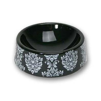 Black porcelain bowl with patterns