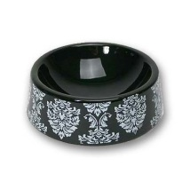 Black porcelain bowl with patterns
