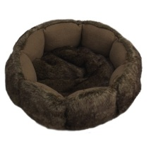 Soft furry bed brown