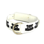 Leather collar bullseye White/Black