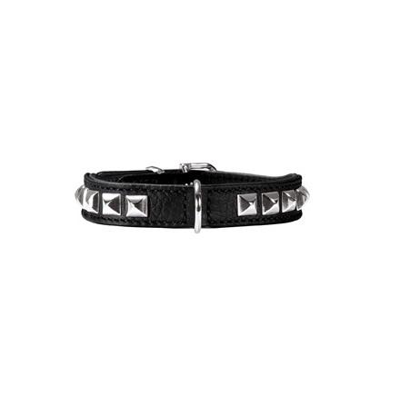 Necklace Nappa w soft studs - Black