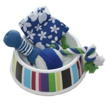 Puppy set blue - bowl+ball+2 toys+scarf