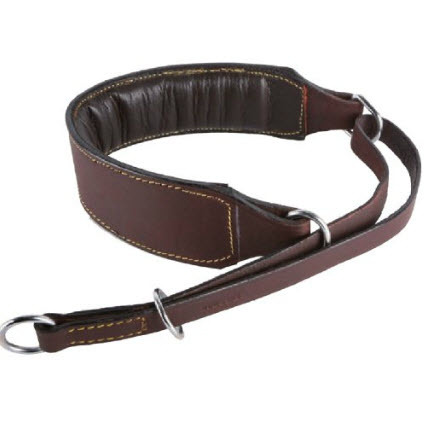 PADDED HALF CHECK COLLAR - BROWN OLD LEATHER