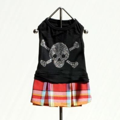 Black/Red Skull plaid dress