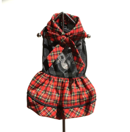 Skull red plaid dress