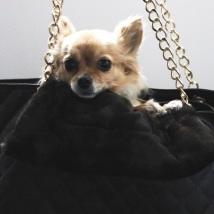 Brown fur blanket w black lining suitable for handbags