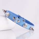 Leather Spike Collar - Blue