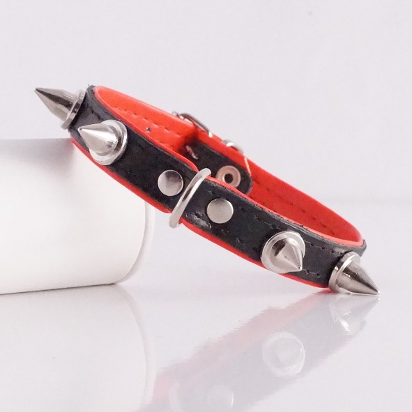 Leather Spike Collar - Black/Red