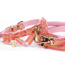 Collar/Leash Set Velvet Pink/Gold w Bow