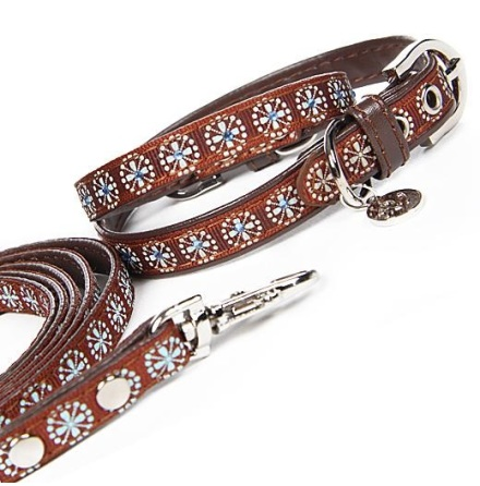 Collar/Leash Set Brown w Blue Crystals L:18-21cm Tot:24cm