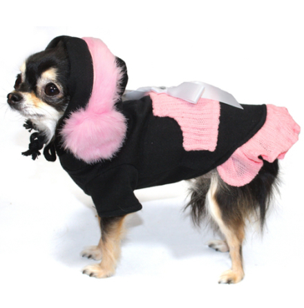 Nina Pink/Black Dress w Earmuffs