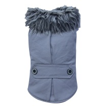 PUG - Grey coat w fur collar