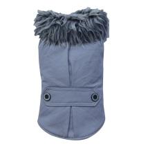 PUG - Grey coat w fur collar