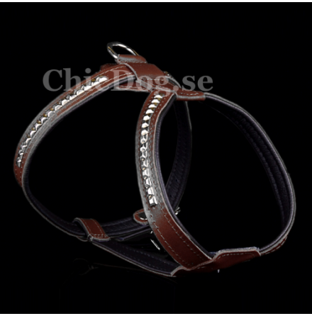 Leather Harness w studs - Brown
