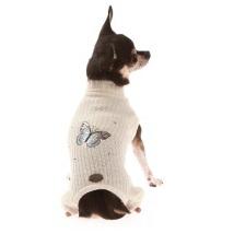 Wool 4 legs knitted w Butterfly - White