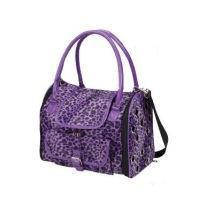 Leopard Pet Carrier Fine Fur - Purple