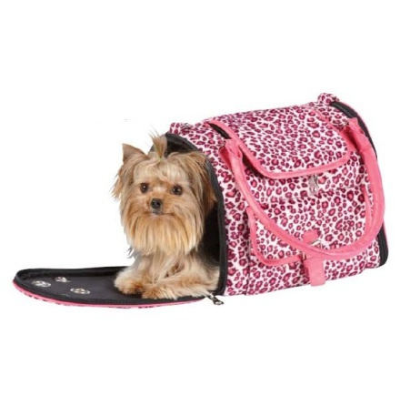 Leopard Pet Carrier Fine Fur - Pink