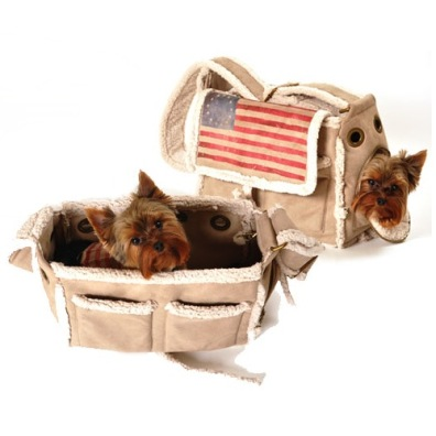 US Flag Bag w Faux Sheep Skin