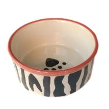 Zebra Bowl with Red Border Handpainted