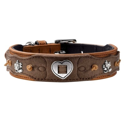 Classic Leather and Filt Collar - Brown