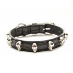 Cool Collar w Silver Skulls - Black