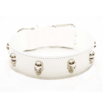 Cool Collar w Silver Skulls - White