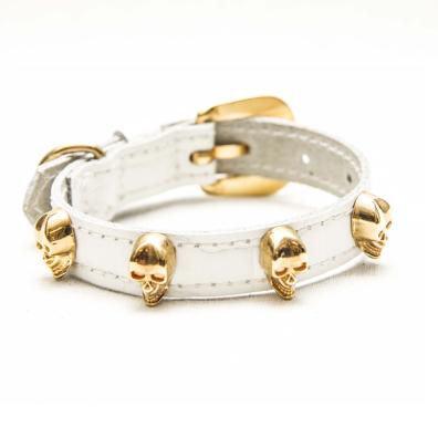 Cool Collar w Golden Skulls - White