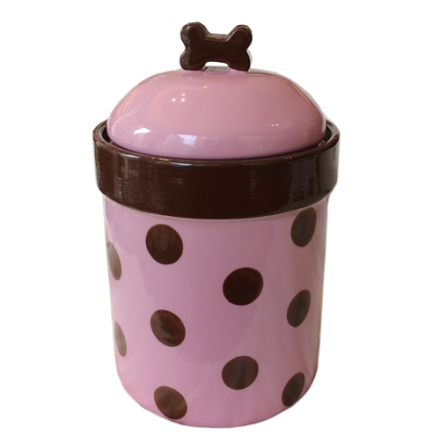 Food/Snack Porcelain Jar - Pink Dots H:21cm