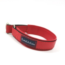 Half check collar red leather