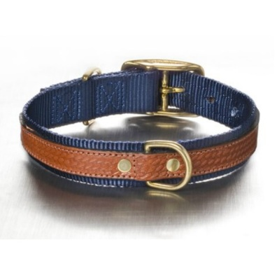Leather and nylon Collar Navy