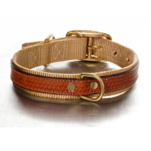 Leather and nylon Collar Beige