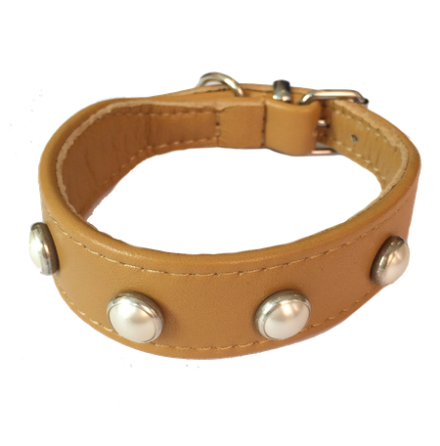 Soft lambskin leather Collar w pearls - Camel