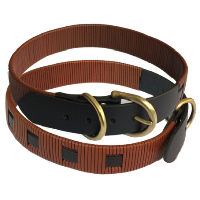 Tex Leather woven Collar - Black/Brown