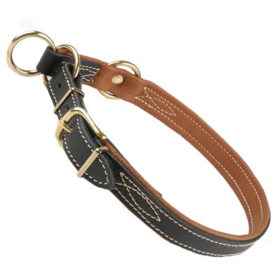 Nordic elk leather Adjustable Half check collar brass Black/Brown