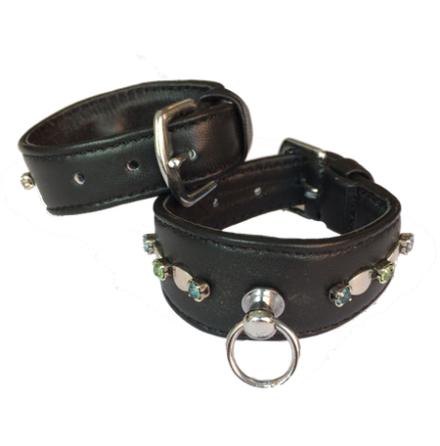 Leather Collar Black w stones  L:14-17cm, Tot: 20cm
