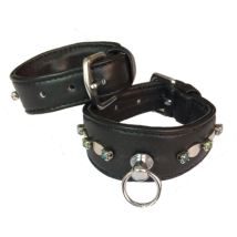 Leather Collar Black w stones