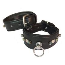 Leather Collar Black w stones