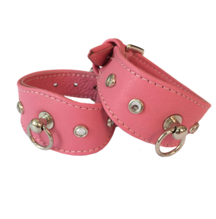 Leather Collar Pink w stones L:14-17cm, Tot: 20cm