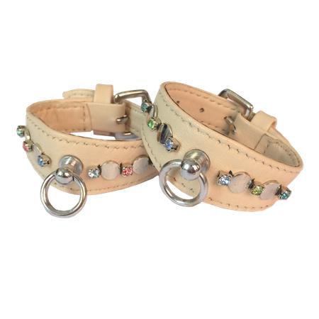 Leather Collar Beige w stones L:14-17cm, Tot: 20cm