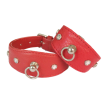 Leather Collar Red w stones